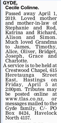 Newspaper obituary for Cecile Colinne 'Cecile' Gyde