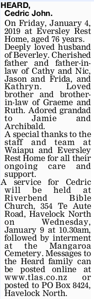 Newspaper obituary for Cedric John 'Cedric' Heard