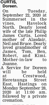 Newspaper obituary for Doreen Mary Moncrieff 'Doreen' Curtis