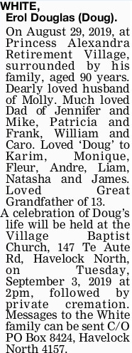 Newspaper obituary for Erol Douglas 'Doug' White