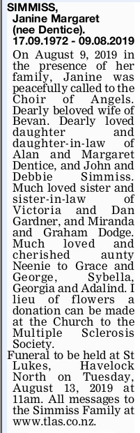 Newspaper obituary for Janine Margaret 'Janine' Simmiss