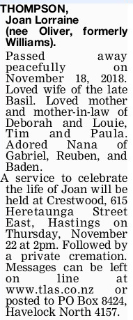 Newspaper obituary for Joan Lorraine 'Joan' Thompson