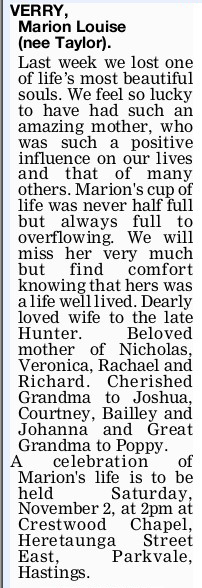Newspaper obituary for Marion Louise 'Marion' Verry