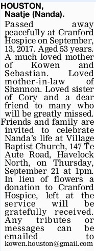Newspaper obituary for Naatje Nanda 'Nanda' Houston