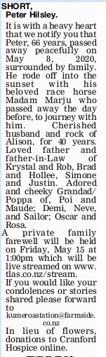 Newspaper obituary for Peter Hilsley 'Peter' Short