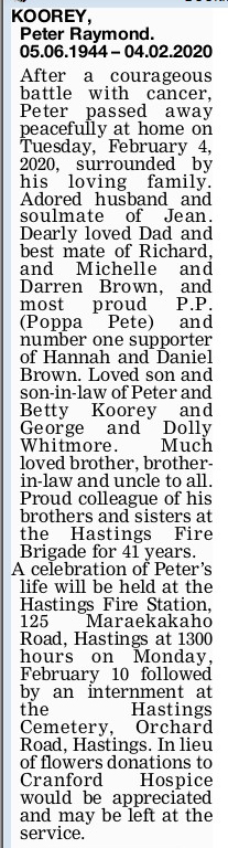 Newspaper obituary for Peter Raymond 'Peter' Koorey