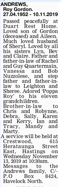 Newspaper obituary for Roy Gordon 'Roy' Andrews