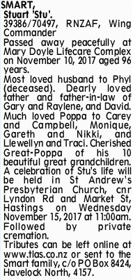 Newspaper obituary for Stuart 'Stuart' Smart
